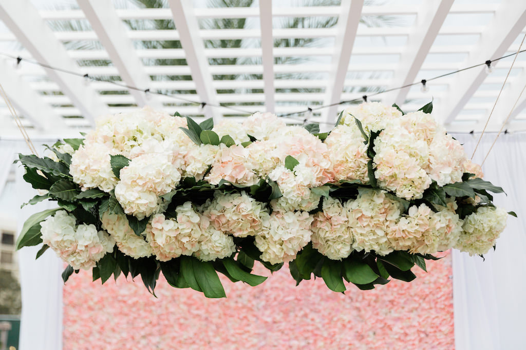 Whimsical Garden Wedding Decor and Sweetheart Table, Ivory, Blush Pink Hanging Floral Arrangement with Greenery   Tampa Bay Wedding Florist Gabro Event Services