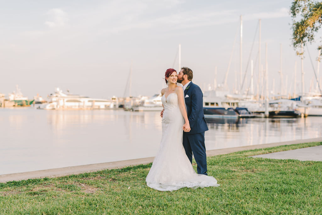 Tampa Bay Bride and Groom Romantic Classic Sunset Waterfront Boat Marina Wedding Portrait   St. Pete Wedding Photographer Kera Photography