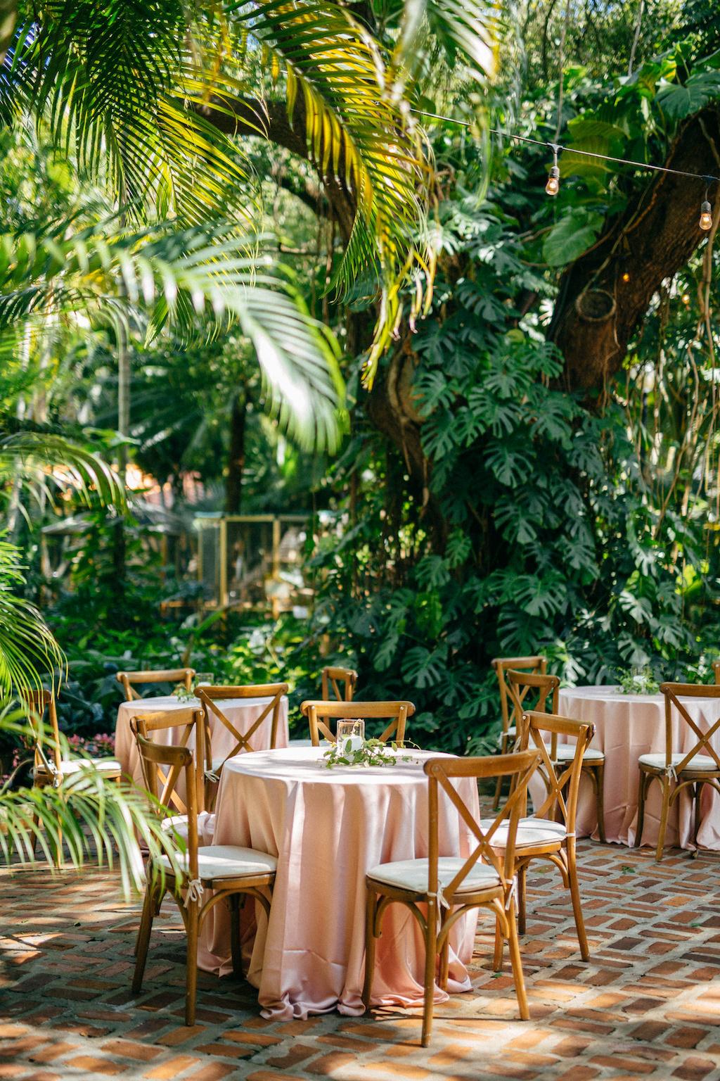 Elegant Classic Simple Garden Wedding Reception Decor, Round Tables with Pink Linens, Wooden Crossback Chairs | Tampa Bay Outdoor Wedding Venue Sunken Gardens