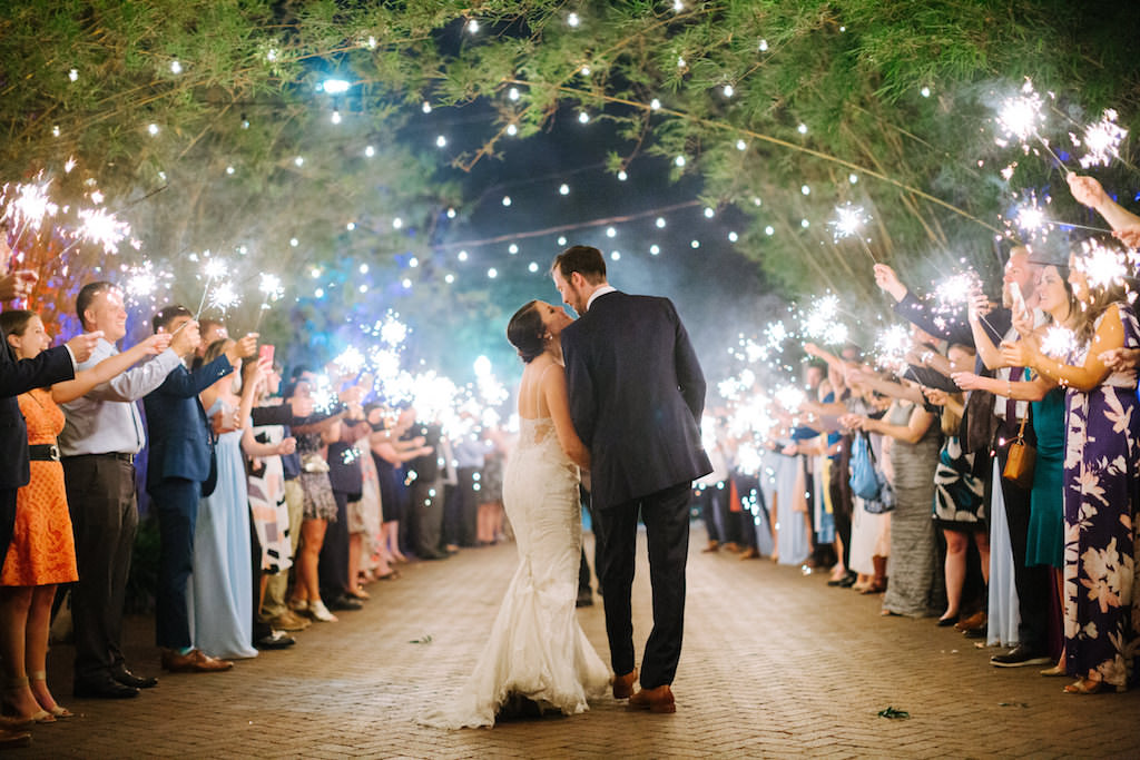Tampa Bay Bride and Groom Sparkler Exit, Bamboo Courtyard | Romantic Nighttime Outdoor Bamboo Courtyard | Historic Downtown St. Pete Wedding Venue NOVA 535