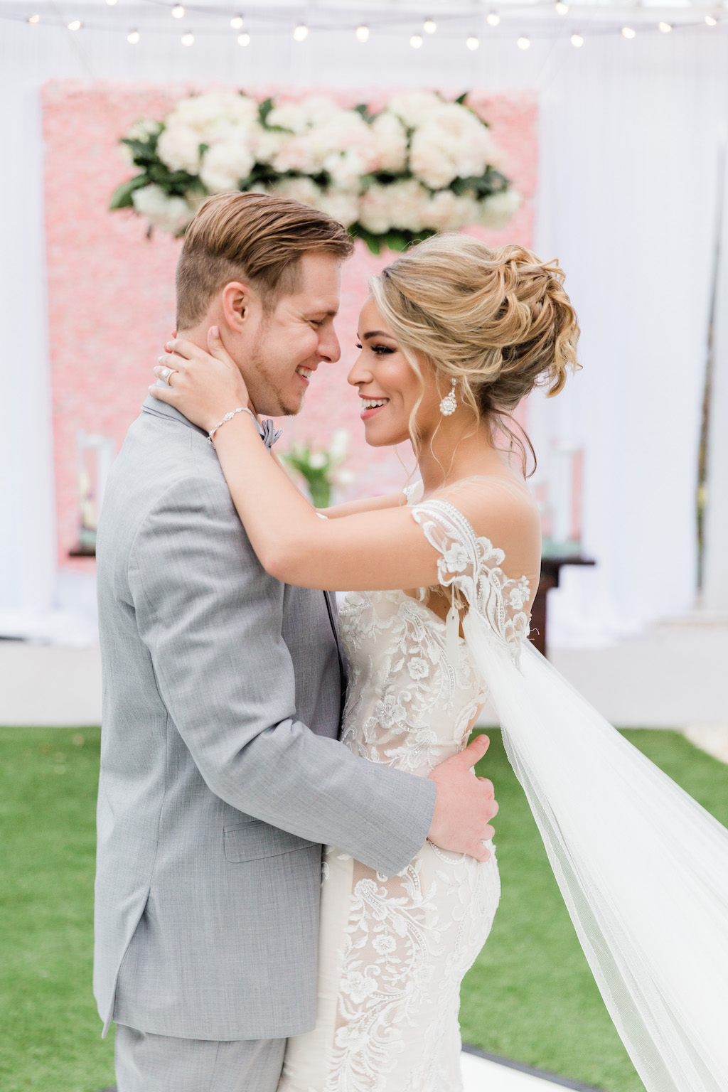 Modern Florida Bride and Groom on Dance Floor, Whimsical Garden Wedding Decor   Tampa Bay Hair and Makeup Artists Femme Akoi   Tampa Bay Couture Wedding Dress Boutique Isabel O'Neil Bridal Collection  