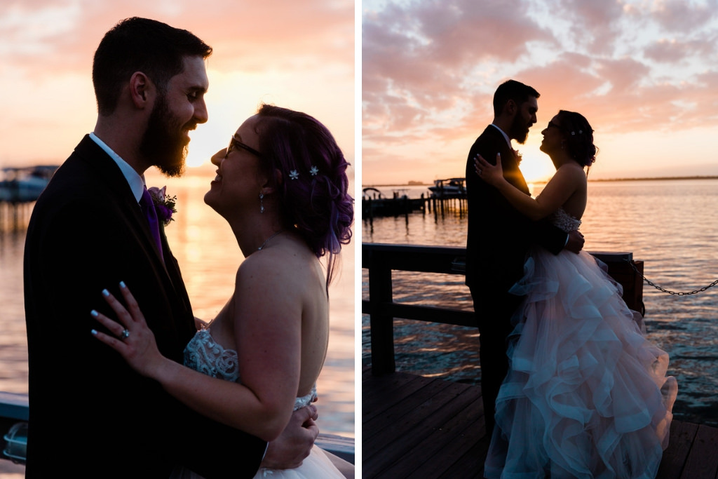 Modern Tampa Bay Bride and Groom Sunset Wedding Portrait on Waterfront Dock | Florida Waterfront Wedding Venue Beso Del Sol