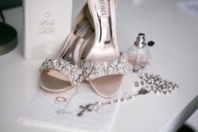 Elegant Silver and Rhinestone Sandal Heel Badgley Mischka Wedding Shoes and Bridal Accessories | Tampa Bay Wedding Photographer Carrie Wildes Photography