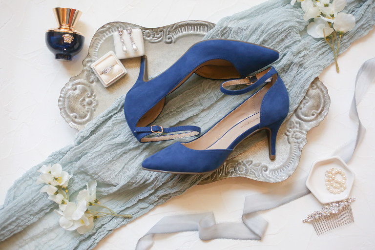 Something Blue Suede Pointed Toe and Kitten Heel Wedding Shoes and Bride Wedding Accessories and Jewelry | Wedding Photographer Lifelong Photography Studios