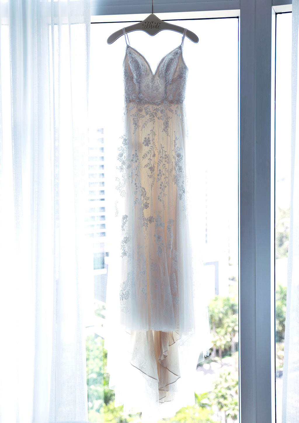 Lace and Illusion Romantic Plunging V Neckline with Spaghetti Straps Paloma Blanca Wedding Dress