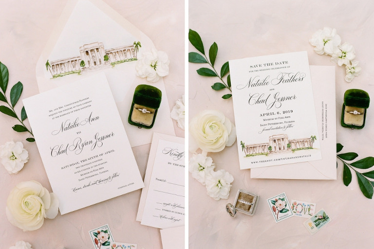 Classic Elegant White with Black Script and Blush Pink Wedding Invitation Suite, Custom Watercolor Image of Wedding Venue on Envelope and Save the Date, Wedding Accessories, Wedding Rings and Engagement Ring in Velvet Ring Box | Tampa Bay Wedding Stationery A&P Design Co.