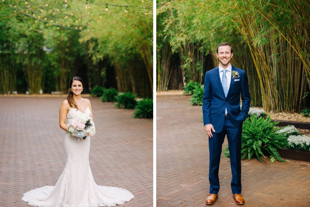 Elegant, Modern Florida Bride in Groom, Bride in Romantic White Maggie Sottero Lace Wedding Dress, Soft Floral Bridal Bouquet with Blush Pink Roses, White Hydrangeas, Blue Thistle, Greenery Flowers, in Florida Bamboo Courtyard, Groom in Rich Navy Blue Suit and Tie Downtown St. Pete Unique Wedding Venue NOVA 535