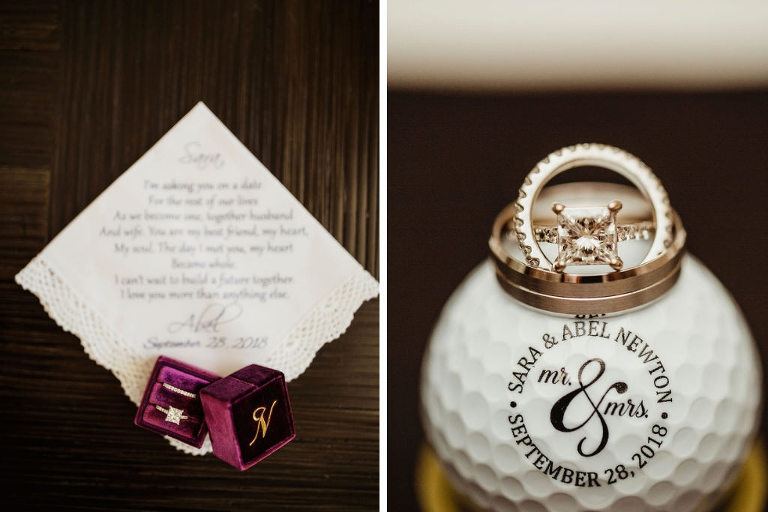 Wedding Accessories, Maroon Velvet and Gold Monogram Ringbox with Princess Cut Engagement Ring and Diamond Wedding Band, Custom Handkerchief with Note and Custom Gold Ball | Wedding Day Gifts for Grooms