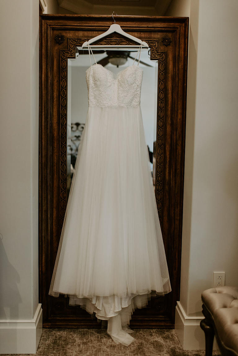 Spaghetti Strap Sweetheart Lace Bodice and Tulle Willowby by Watters Ballgown Skirt Wedding Dress on Hanger
