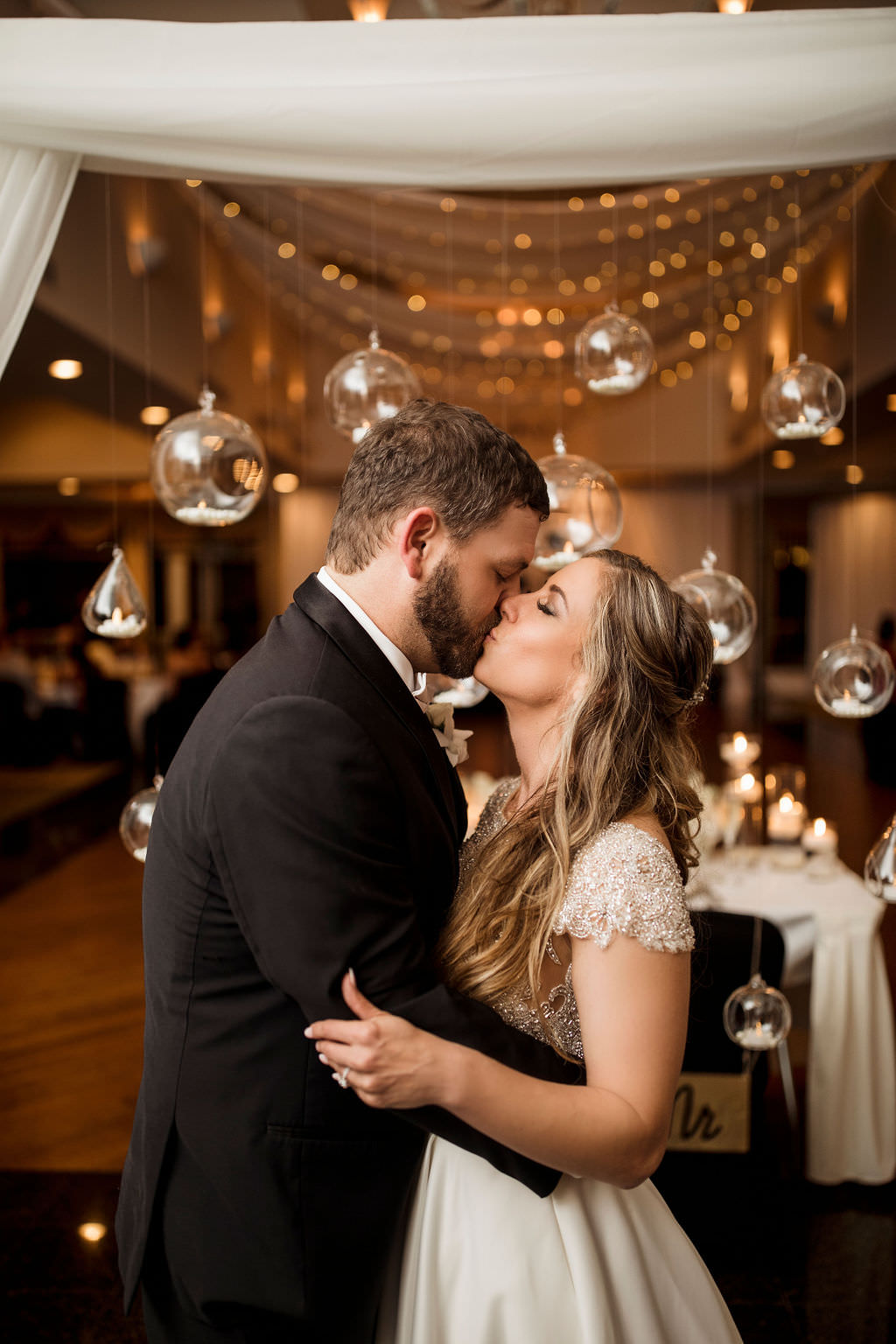 Florida Classic Bride and Groom Kissing Wedding Reception Portrait