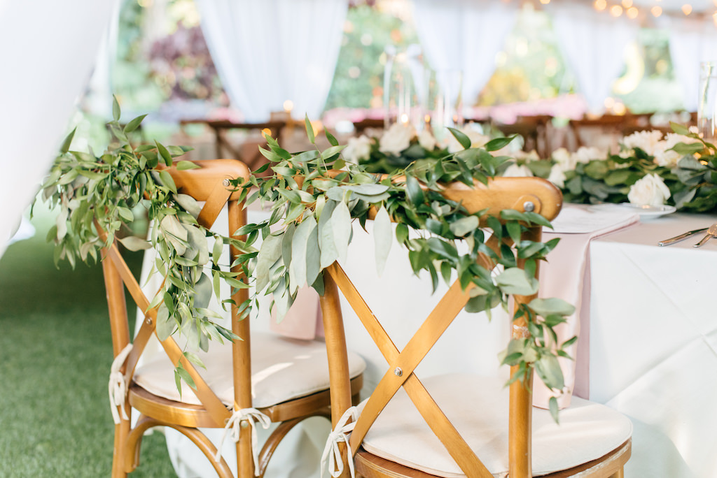 Simple, Elegant, Classic Garden Inspired Wedding Reception Decor, Wooden Crossback Chairs with Greenery