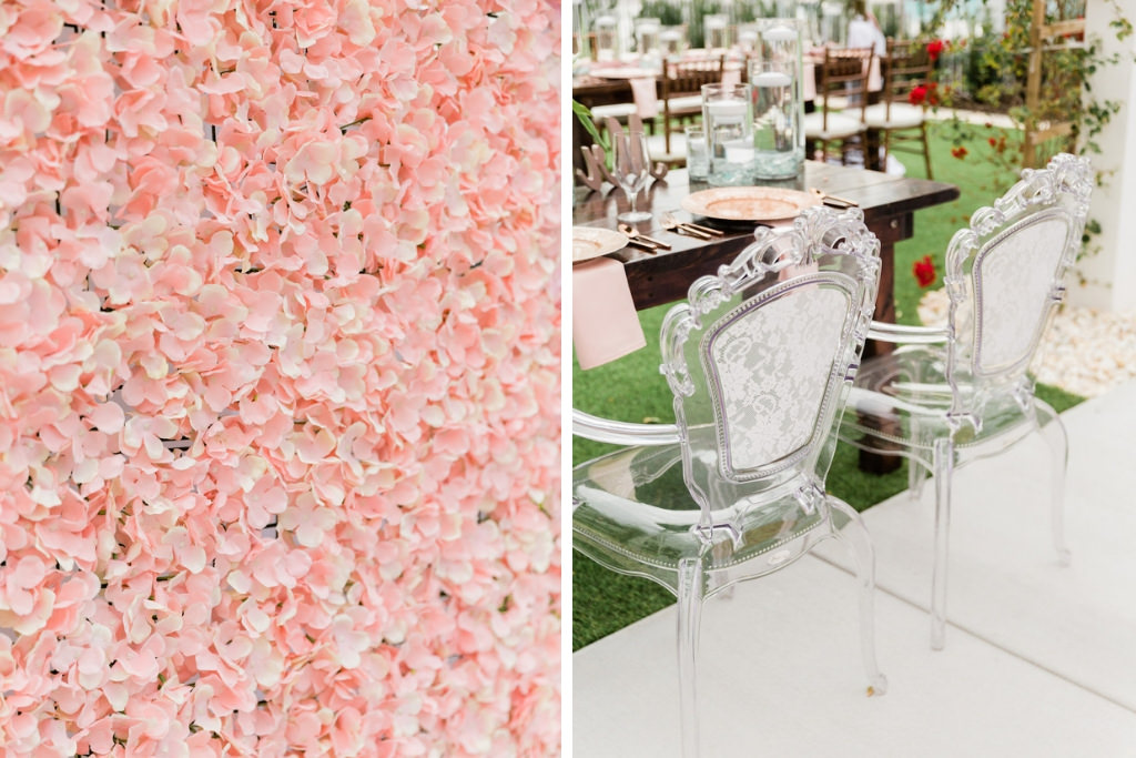 Light Pink Floral Boxwood Wall, Ghost Acrylic Chairs for Wooden Sweetheart Table   Tampa Bay Wedding Florist Gabro Event Services   Tampa Bay Wedding Rentals A Chair Affair