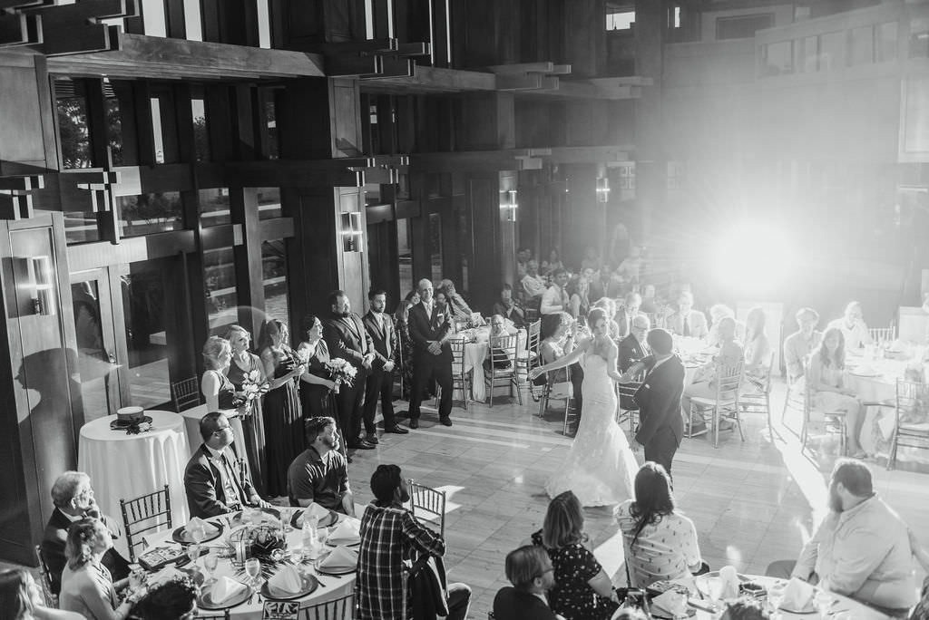 Black and White Bride and Groom First Dance Wedding Reception Portrait   St. Pete Wedding Photographer Kera Photography