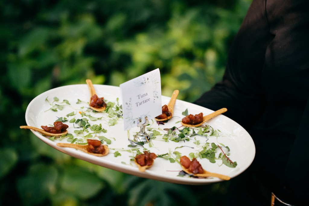 Tuna Tartare Passed hors d'oeuvres Cocktail Reception | Tampa Bay Wedding Catering Olympia Catering