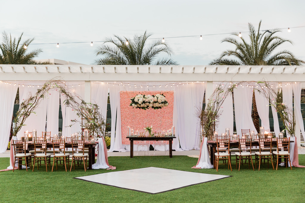 Modern, Garden Inspired Wedding Decor, Blush Pink Floral Wall and White Draping, Gazebo, Outdoor Dance Floor, Long Feasting Tables. Rose Gold Chiavari Chairs, Floral Curly Willow Arches | Tampa Bay Wedding Planner Special Moments Event Planning | Tampa Bay Wedding Florist Gabro Event Services | Tampa Bay Wedding Rentals A Chair Affair