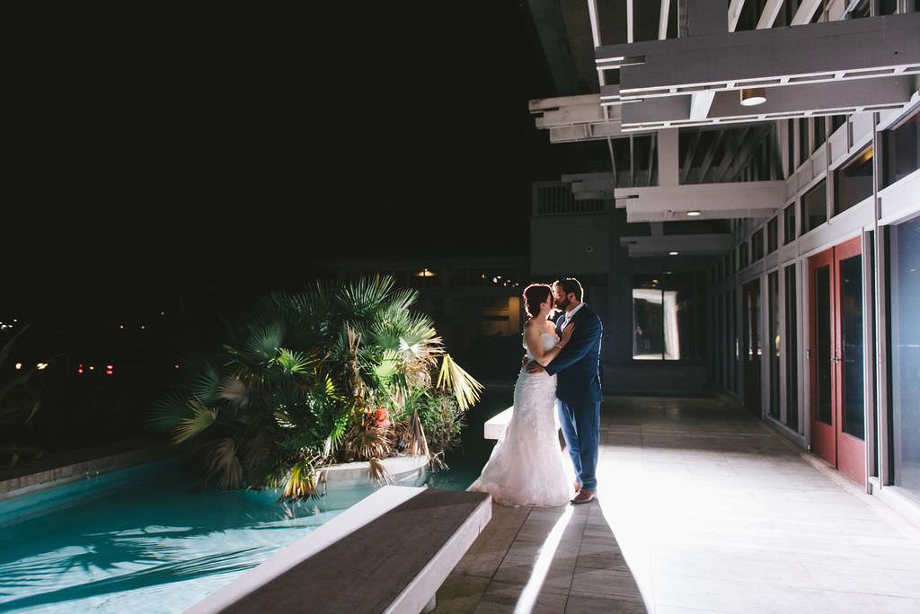 Outdoor Nighttime Intimate Bride and Groom Romantic Wedding Portrait   Wedding Photographer Kera Photography   St. Pete Wedding Venue The Poynter Institute