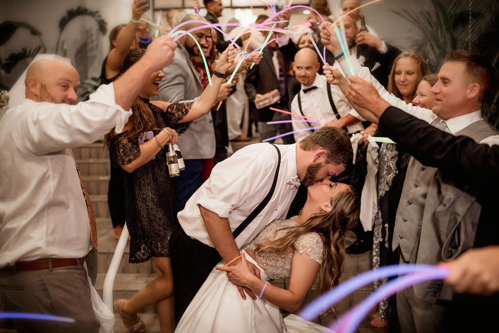 Tampa Bay Bride and Groom Wedding Reception Glowstick Exit Portrait