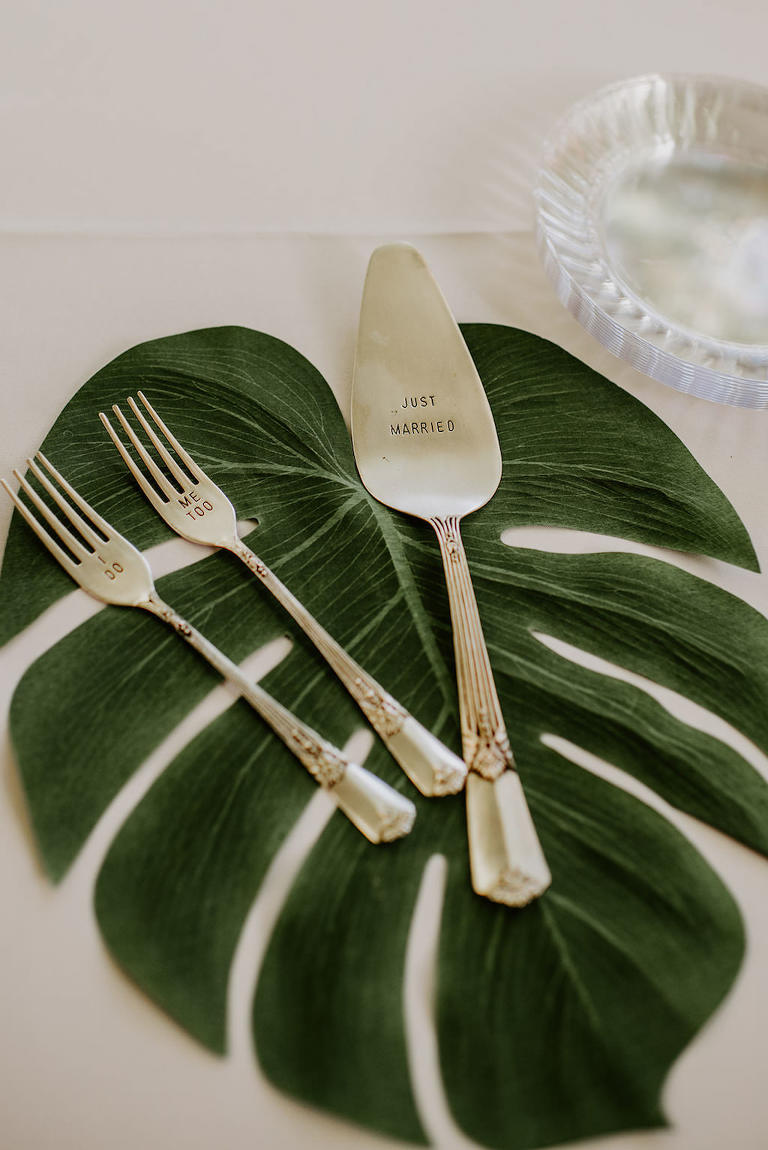 Tropical Monstera Palm Leaf with Silver Custom Forks and Cake Cutter