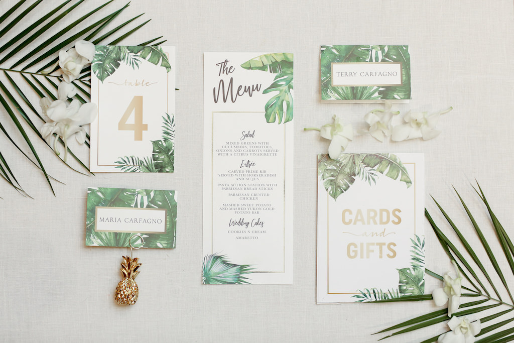 Tropical Elegant Green Palm Tree Leaves And Gold Wedding Stationery Tampa Bay Wedding Photographer Lifelong Photography Studios Marry Me Tampa Bay Local Real Wedding Inspiration Vendor Recommendation Reviews Tropic neon jungle night summer vector background. tropical elegant green palm tree leaves