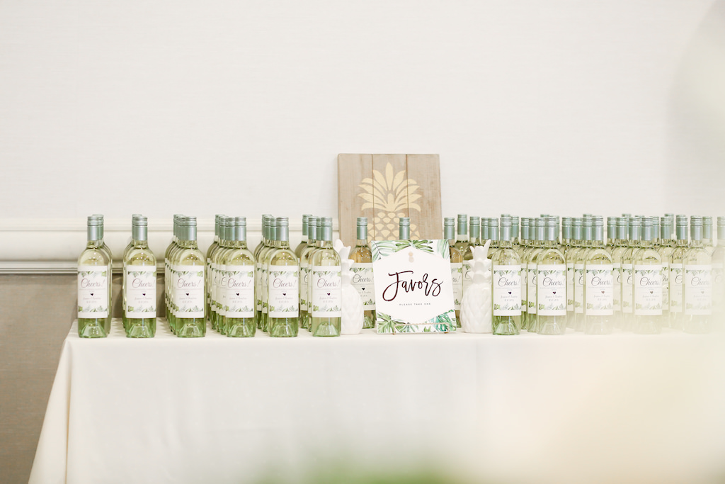 Tropical Elegant Wedding Favors, Custom Wine Bottles and Wooden Sign with Gold Hand Painted Pineapple   Tampa Bay Wedding Photographer Lifelong Photography Studios