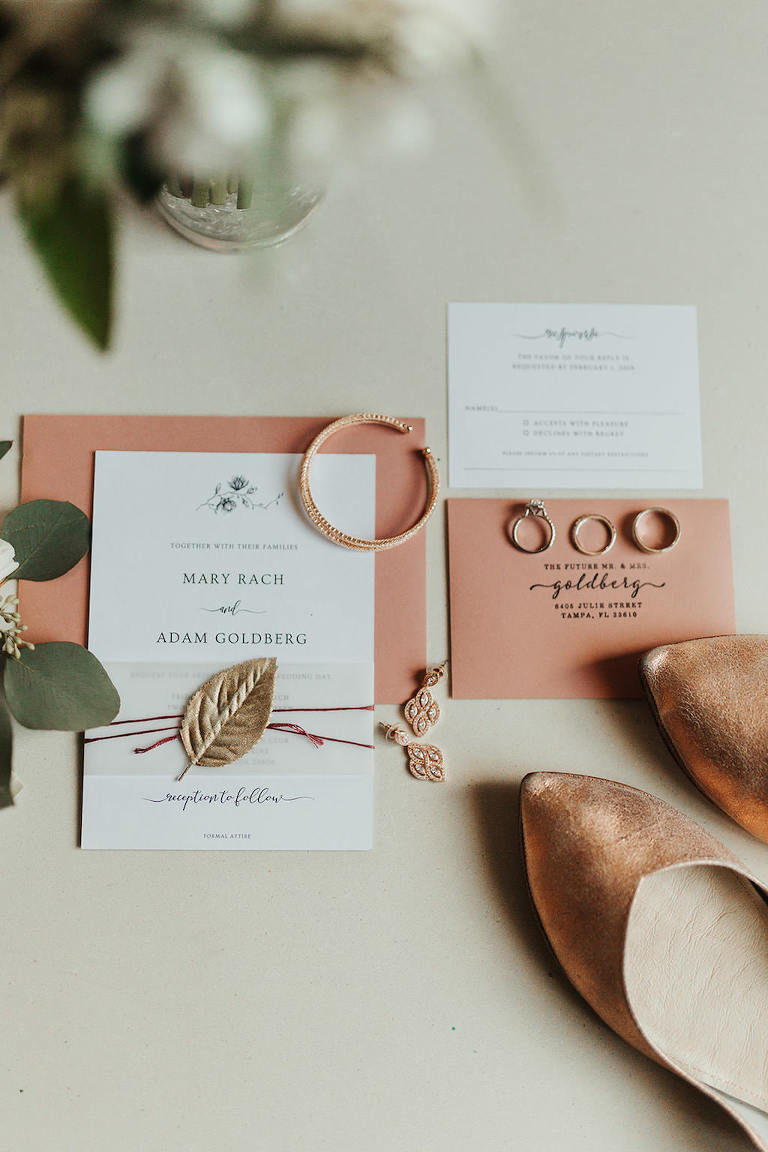 Garden Chic Coral Pink Modern Wedding Invitation Suite and Wedding Accessories