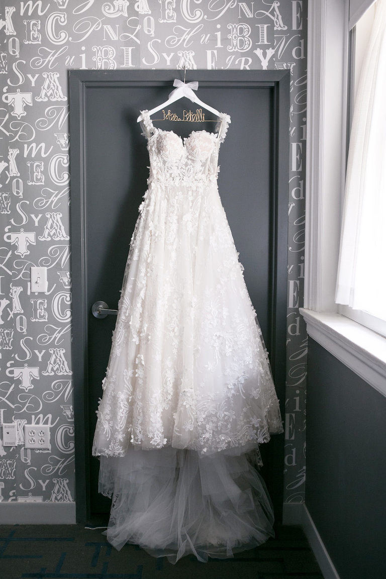 Lace Illusion and Tulle Ballgown Sweetheart Neckline with Straps Romantic Modern Galia Lahav Wedding Dress on Custom White Wooden and Wire Hanger   Tampa Bay Wedding Photographer Carrie Wildes Photography   Tampa Bay Bridal Shop Isabel O'Neil Bridal Collection