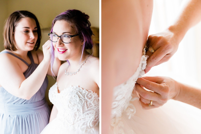 Modern, Romantic Florida Bride and Bridesmaids Getting Ready, Unique Wedding Style, Purple Hair, Glasses