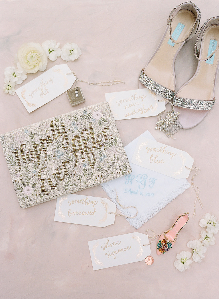 Something Old, Something New, Something Borrowed, Something Blue Bridal Wedding Accessories, Blue Embroidered Monogram Handkerchief, Beaded Happily Ever After Clutch Purse, Silver Strappy Rhinestone Wedding Shoes, Silver Crystal Hairpiece