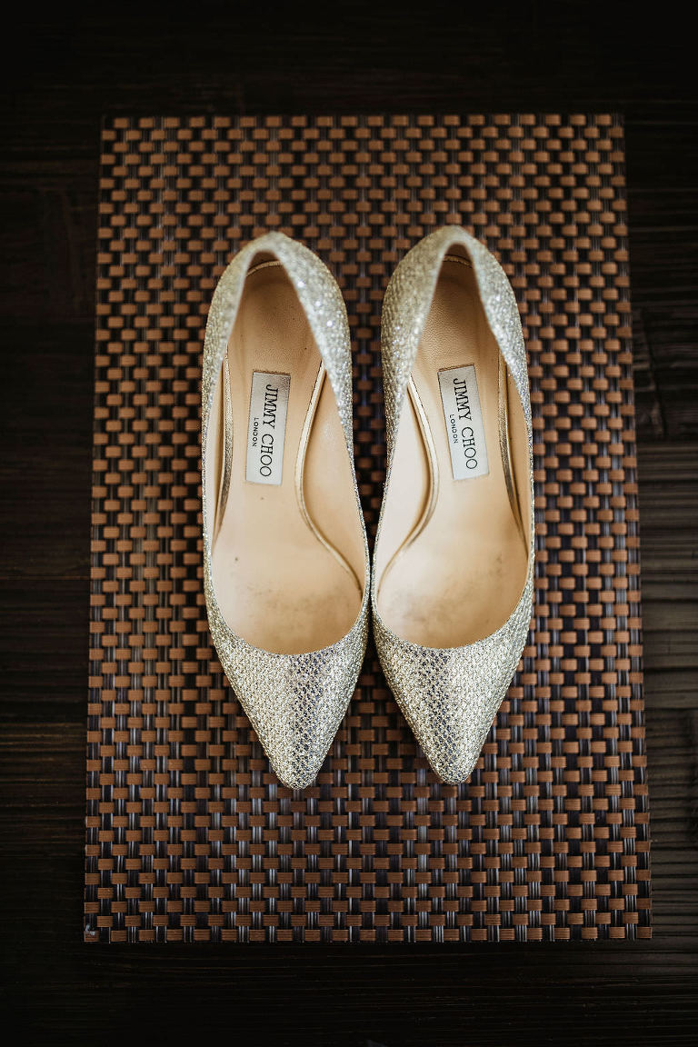 Bride's Champagne Gold Sparkle Jimmy Choo Pointed Toe Wedding Shoes