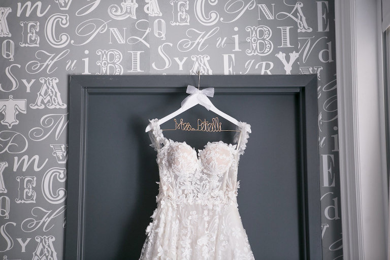 Lace, Illusion and Tulle Ballgown Sweetheart Neckline with Straps, Romantic Modern Galia Lahav Wedding Dress on Custom White Wooden and Wire Hanger | Tampa Bay Wedding Photographer Carrie Wildes Photography | Tampa Bay Bridal Shop Isabel O'Neil Bridal Collection