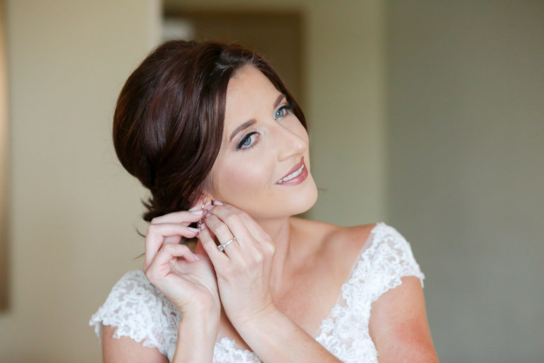 Florida Bride Getting Ready Wedding Portrait, Neutral Makeup and Updo Hair | Wedding Photographer Lifelong Photography Studios