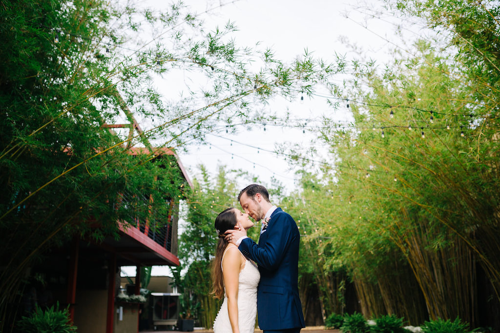 Modern, Florida Bride and Groom in Outdoor Bamboo Courtyard | Downtown St. Pete Unique Wedding Venue NOVA 535