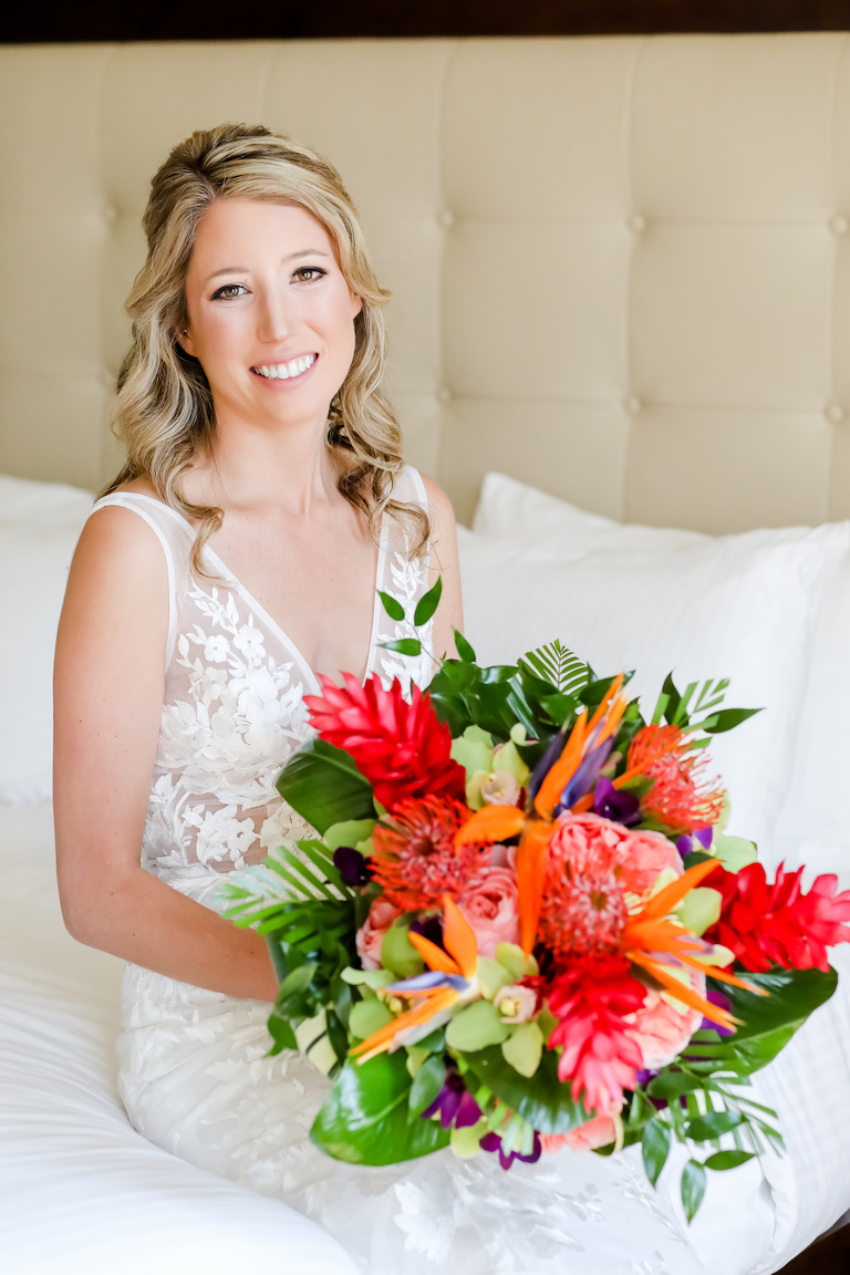 Elegant Florida Bride with Vibrant, Tropical Floral Bouquet with Exotic Flowers, Colorful Island-Inspired Flowers | Tampa Bay Wedding Photographer Lifelong Photography Studios | Tampa Bay Wedding Hair and Makeup Artist Michele Renee The Studio