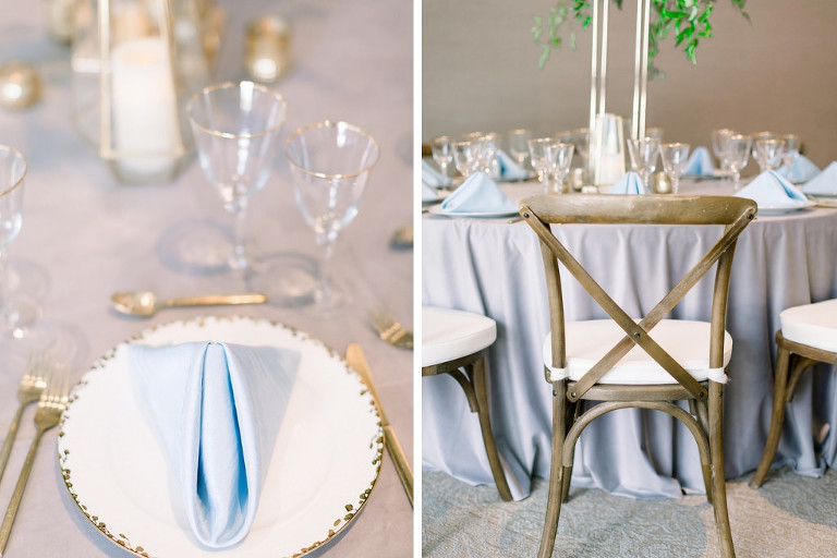 Marry Me Tampa Bay Before 5 Networking Event, St. Pete Venue Crawl | Wedding Tablescape with Baby Blue Linens and Greenery with Blue and White Florals with Crossback Wooden Farm Chairs
