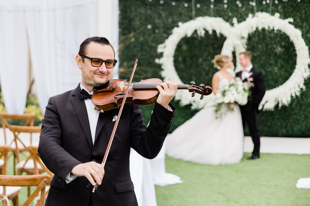 Elegant, Garden Inspired Outdoor Wedding Ceremony, With Live Violinist, Tampa Bey Wedding Musician Sunset Strings   Tampa Bay Wedding Planner Special Moments Event Planning   Tampa Bay Wedding Florist Gabro Event Services