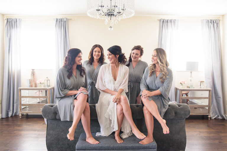 Florida Bride and Bridesmaids Getting Ready Wedding Portrait in Matching Grey Robes