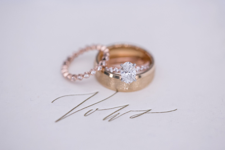 Oval Diamond Engagement and Rose Gold Band, Bride and Groom Wedding Rings | Tampa Bay Wedding Photographer Carrie Wildes Photography