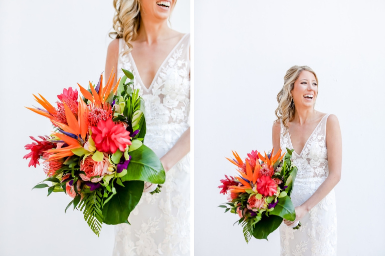 Elegant Florida Bride with Vibrant, Tropical Exotic Floral Bouquet, Colorful Island-Inspired Flowers | Tampa Bay Wedding Photographer Lifelong Photography Studios | Tampa Bay Wedding Hair and Makeup Artist Michele Renee The Studio