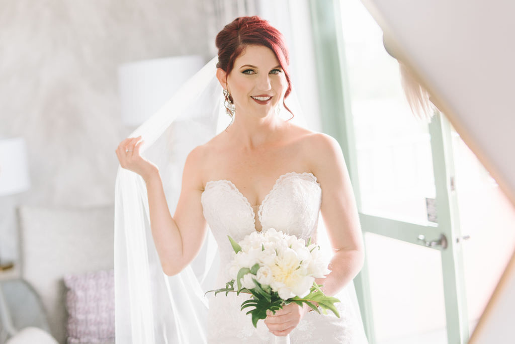 Tampa Bay Bride Beauty Portrait in Formal Classic Strapless Sweetheart Fit and Flare Lace Stella York Wedding Dress Holding White Floral Bouquet   Wedding Photographer Kera Photography   Destiny and Light Hair and Makeup Group