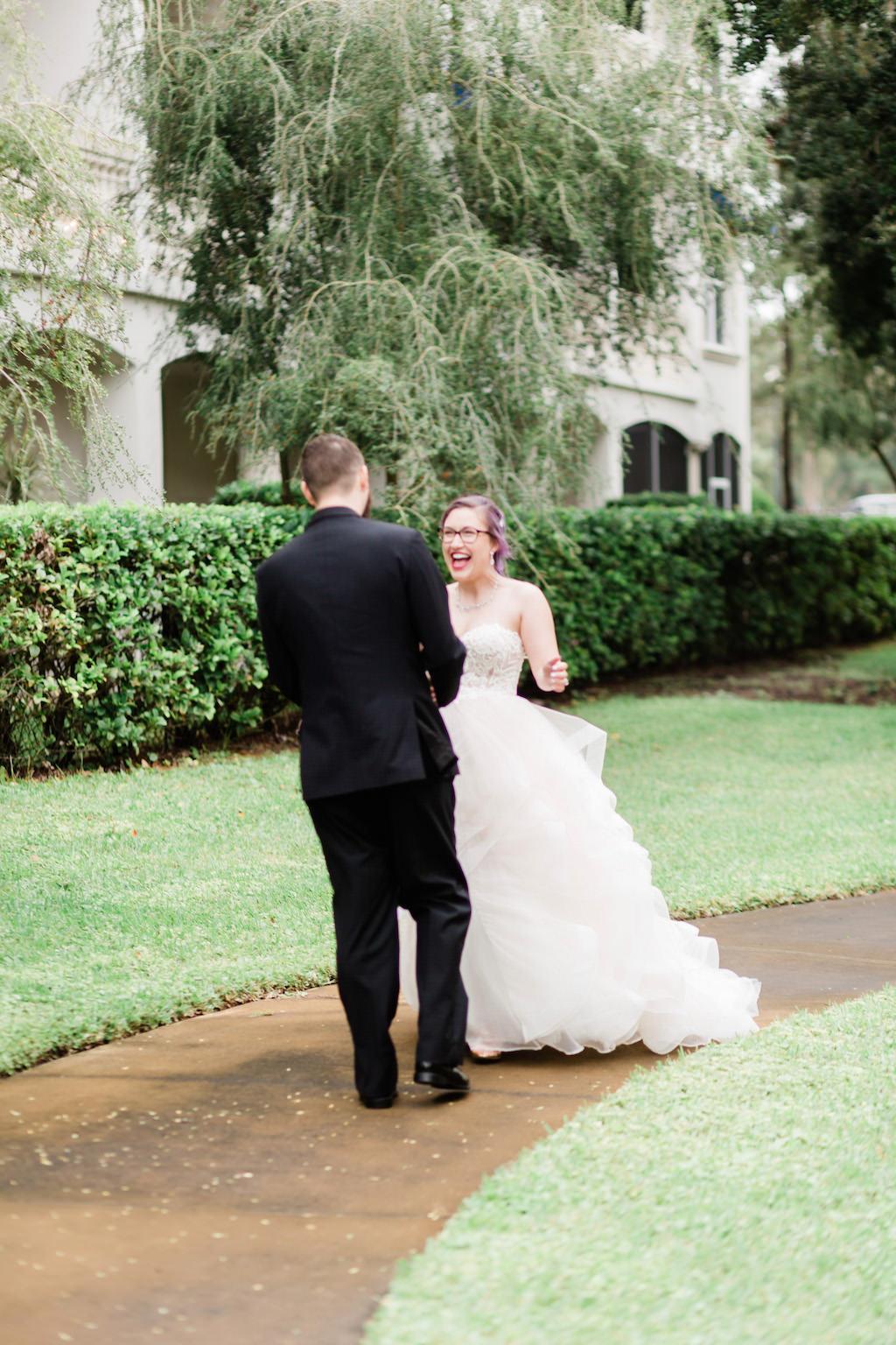 Modern Florida Bride and Groom First Look before Wedding