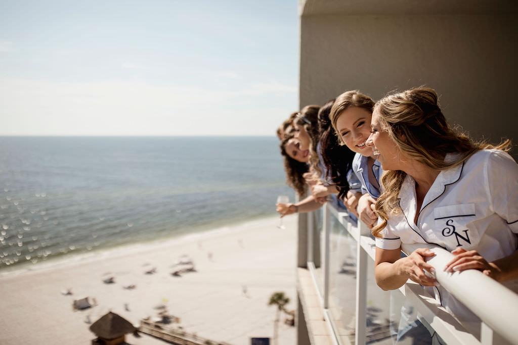 Classic Florida Bride and Bridesmaids Waterfront Beach Hotel Balcony Photo