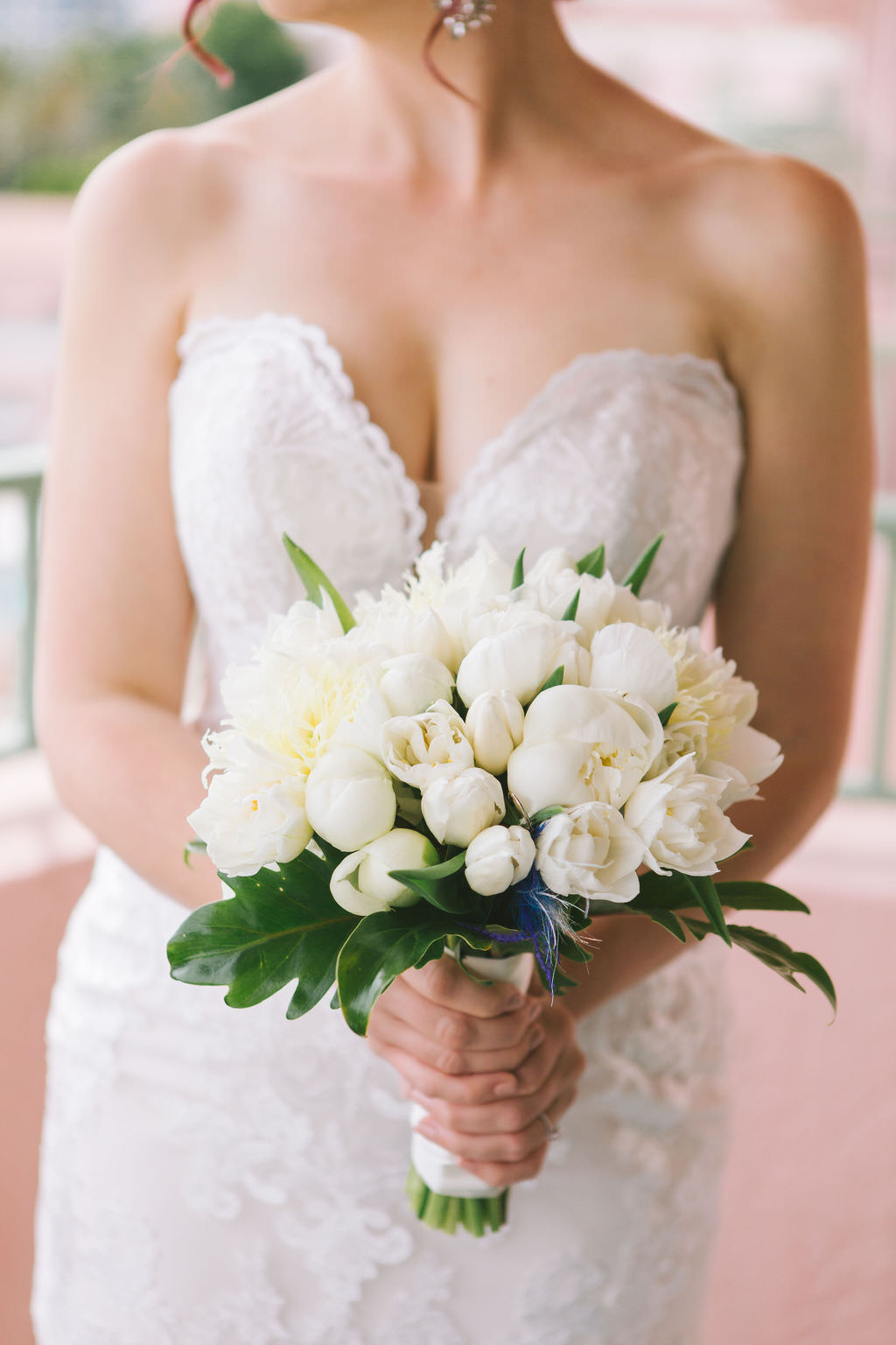 Florida Bride Holding Ivory Tulips and White Rose Floral Bouquet in Strapless Sweetheart Formal Classic Lace Fit and Flare Stella York Wedding Dress   Wedding Photographer Kera Photography