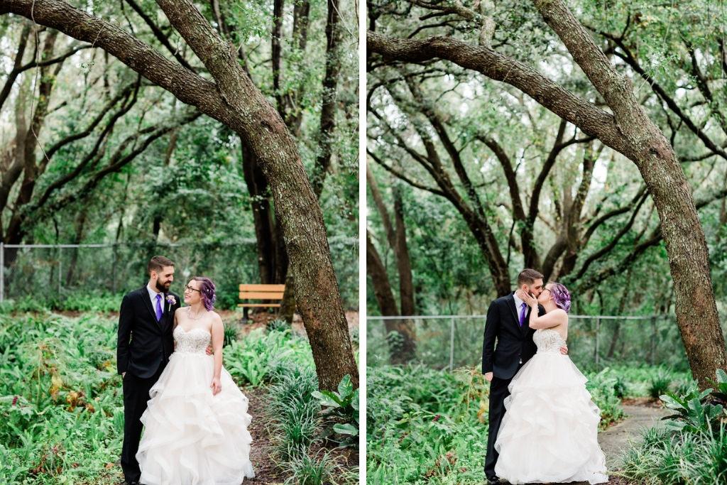 Modern Florida Bride and Groom Outdoor Park Portrait, in Ballgown Wedding Dress, Purple Hair