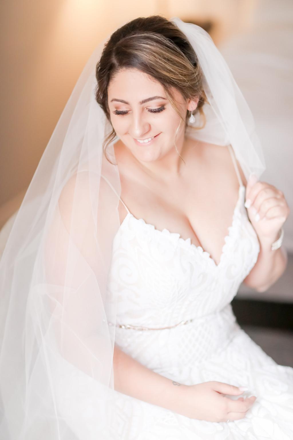 Florida Beauty Bridal Portrait, Spaghetti Strap Lace V Neckline Wedding Dress with Belt and Long Veil   Tampa Bay Wedding Photographer Lifelong Photography Studios