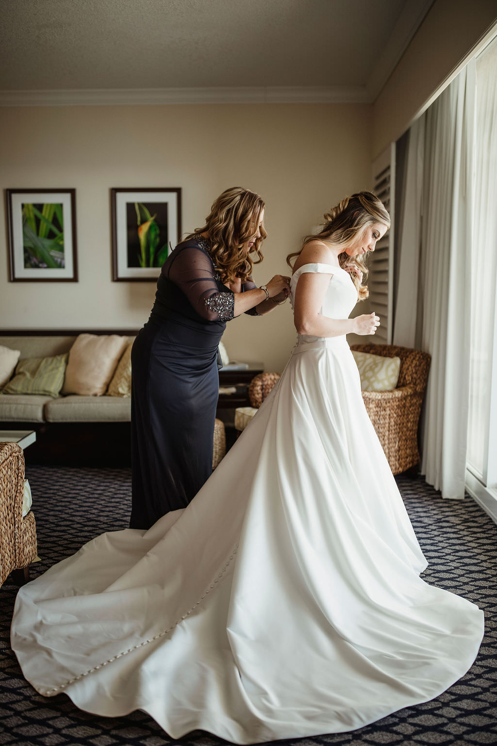 Florida Classic Bride Getting Ready Photo in White Off the Shoulder Ballgown Calla Blanche Wedding Dress