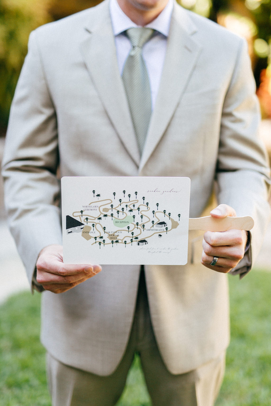 Custom Map Wedding Ceremony Fan Program