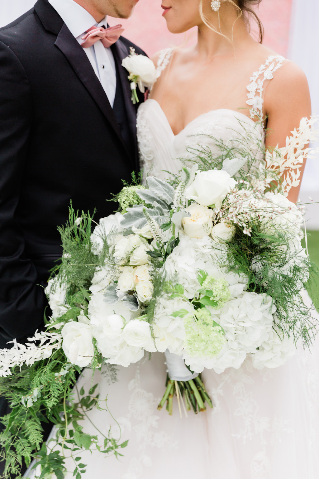 Modern, Elegant Florida Bride and Groom, Luxurious White Mixed Stem Floral Bouquet with Whimsical Greenery   Tampa Bay Wedding Florist Gabro Event Services   Tampa Bay Hair and Makeup Artists Femme Akoi   Tampa Bay Couture Wedding Dress Boutique Isabel O'Neil Bridal Collection