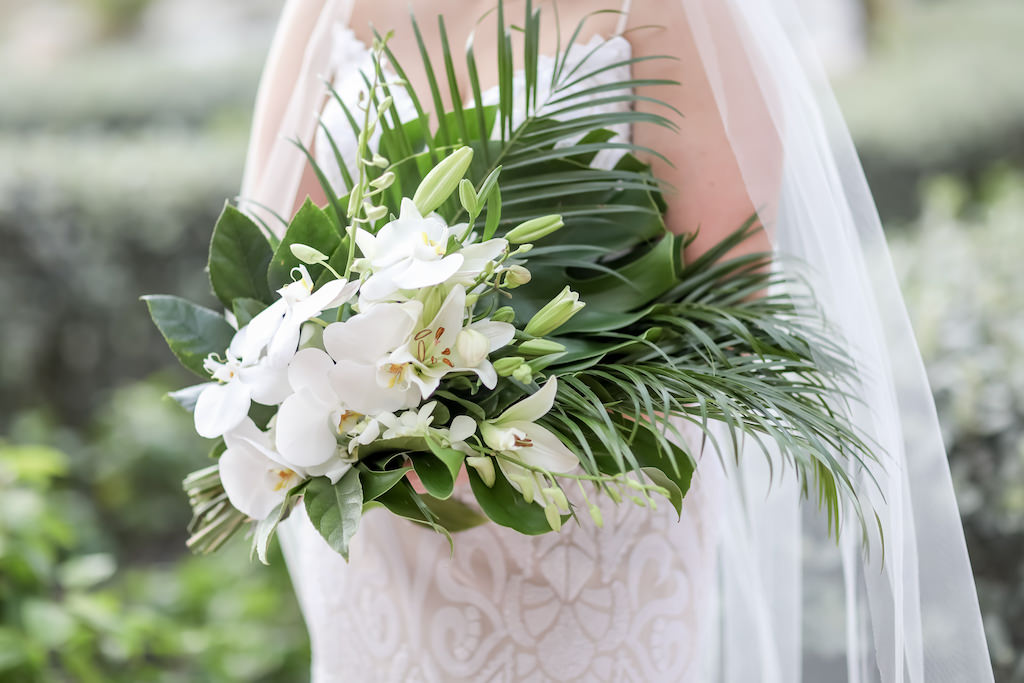Tropical Elegant Palm Leaves and White Orchid and Lilly Floral Bouquet   Tampa Bay Wedding Photographer Lifelong Photography Studios