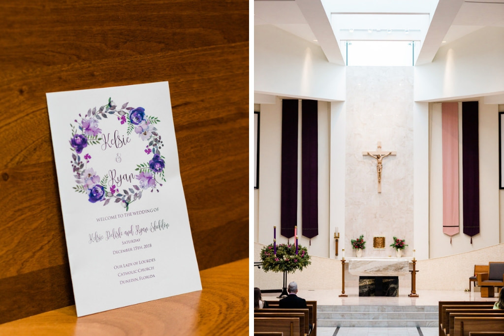 Minimalist, Garden Inspired Purple and Pink Watercolor Floral Wedding Program | Traditional Catholic Wedding Ceremony Venue Our Lady of Lourdes in Clearwater Florida