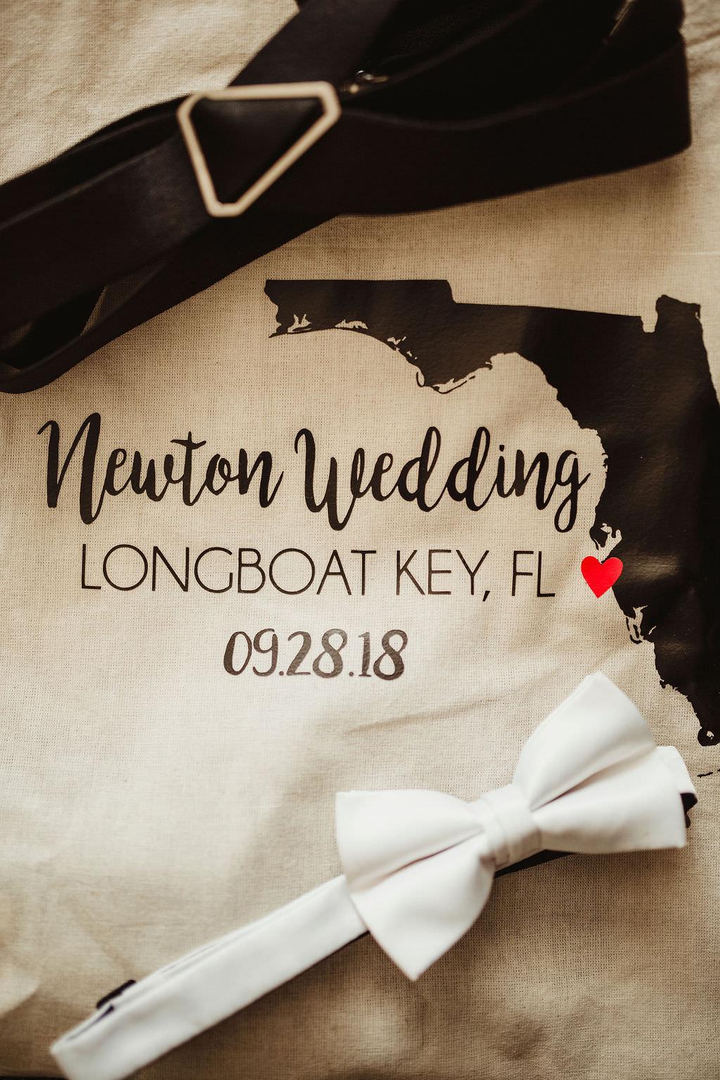 Wedding Accessories, Custom Florida Theme Welcome Bag, Groom White Bowtie